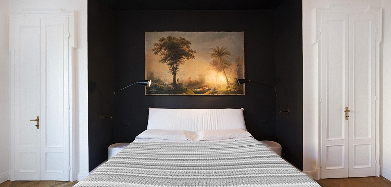 Camera da letto con parete in pietra trendy pareti in - Parete in pietra camera da letto ...